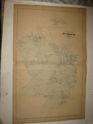 Antique 1879 Plymouth Town City Kingston Plymouth County Massachusetts Map Rare