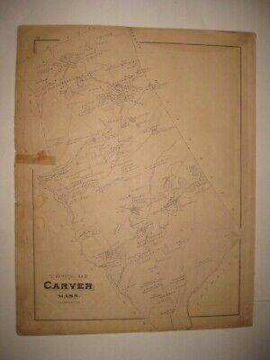 Antique 1879 Carver Wareham Narrows Plymouth County Massachusetts Handcolor Map