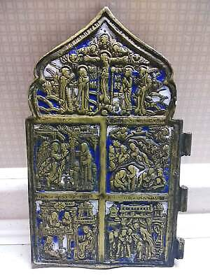 Antique 19th Russian Orthodox bronze icon enamel