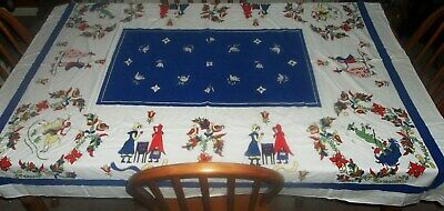 Vtg Dutch Colonial People Horse Birds Folk Art Flowers Tablecloth 60 x 51