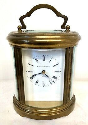 MATTHEW NORMAN LONDON SWISS MADE Oval Brass STRIKING Carriage Clock : Working