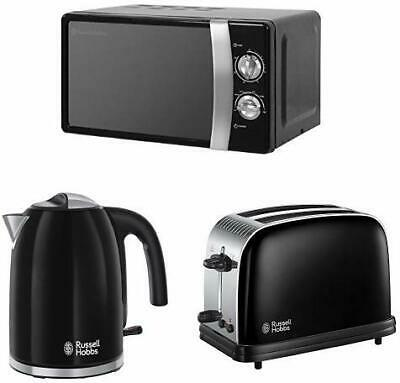 Russell Hobbs Kitchen Set in Black - Microwave, Kettle, 2-Slice Toaster