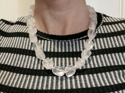 Large Chunky CLEAR QUARTZ Bead Necklace Crystal Reiki Charged *Read Below*