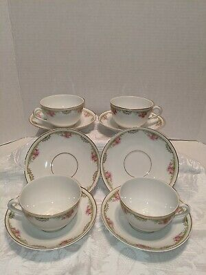 Vintage Epiag Czechoslovakia China Tea Cups. Delicate Pink Rose with Gold Trim.