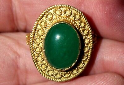 Very Old 22K Solid Yellow Gold Ring Ancient Roman Glass Beautiful Old Jewelry