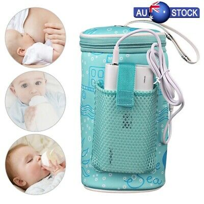 Baby Milk Bottle Warmer Travel Heater Bag Pouch Portable USB Feeding Thermostat