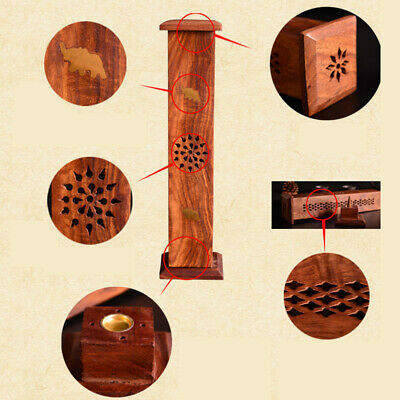 Buddha Holder Box Wooden Cone Tower Incense Carving Hollow Durable Hot