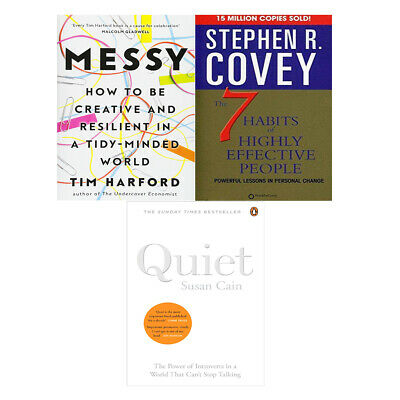 Quiet: The Power of Introverts, Messy, 7 Habits of Highly 3 Books Collection Set