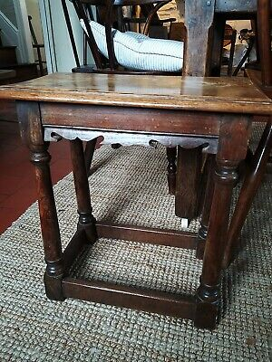 Nice Little Oak Joint Stool Circa 1900 In 17th Century Manner ?