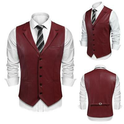 Men Fashion Turn Down Collar Sleeveless Solid Leather Single Breasted EHE8