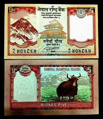 Nepal 5 Rupees Banknote World Paper Money UNC Currency Bill Note