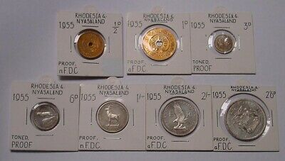 1955 RHODESIA & NYASALAND Proof set in 2 x2 coin holders.