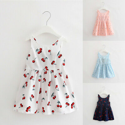2019 Children Kids Girls Fit Floral Print Backless Casual Princess Dress Clothes