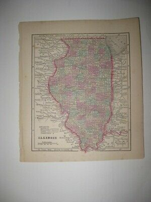 Rare Early Antique 1857 Illinois Handcolored Map Railroad Chicago Cook County Nr