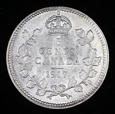 1917 Canada 5 Cent Silver Coin, Uncirculated #Fc200111