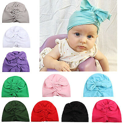 Baby Girls Boys Turban Infant Toddler Hat Knot Headbands Beanie Cotton Head Wrap