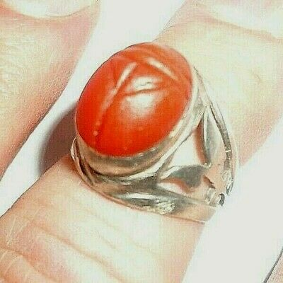 Nice Carnelian Agate Egyptian Scarab Ring, Silver, Size 9
