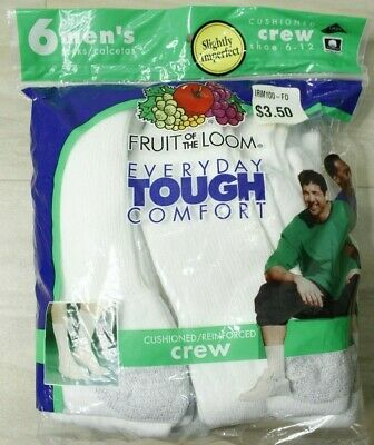 Fruit of the Loom Men's 6 Pack Every Day Tough Reinforced Cushion Crew Socks