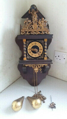 Vintage  Dutch Zaandam Wall Clock, Bell Strike, Weights, Pendulum- not tested