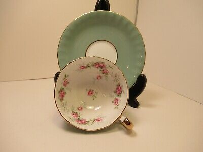 Gorgeous Aynsley Eng China Tea Cup&Saucer Sage Green Pink Roses  Gold Trim!!!