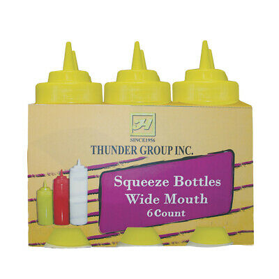 Thunder Group 24 oz Wide Mouth Yellow Plastic Squeeze Bottle - 6 Per Pack