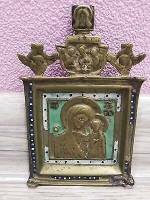 Antique 19th Russian Orthodox bronze icon enamel Mother of God.