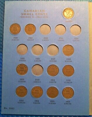 COLLECTION OF CANADIAN 1 CENT 1920 to 1972 IN A BLUE BOOK **50 COINS TOTAL** #14