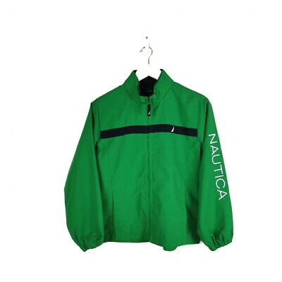 Nautica Green Zip Up Jacket with Spell Out Sleeve Size Youth Boys