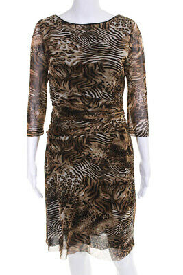 Kay Unger Womens Zebra Leopard Tiger Print Ruched Midi A-Line Dress Brown Size L