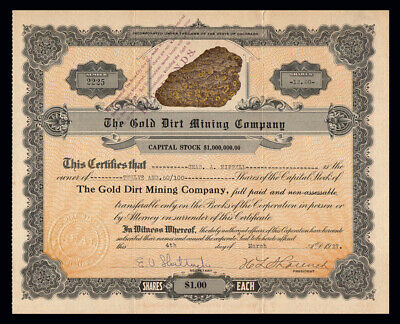 1927 EMPIRE COLORADO Gold Dirt Mining Company Stock Certificate CAVODE MOUNTAIN