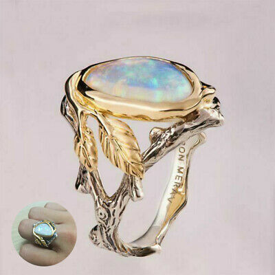 Ring Engagement Size6-10 Woman Man White 925 Silver Fire Opal Moon Stone Wedding
