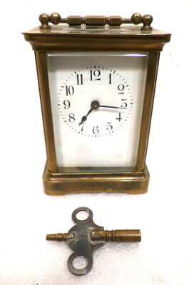 1890 French  Brass 8 Day Carriage Clock With Porcelain Dial