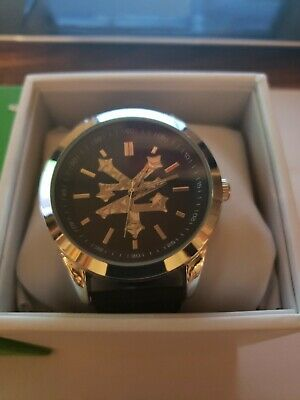 Brand New Boxed Zoo York Mens Watch Black Band Black Dial Silver Gear Logo