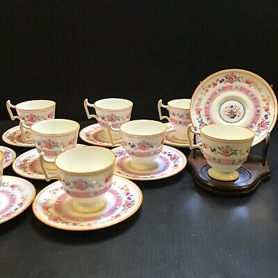 10 Antique Royal Doulton Urn Demitasse Tea Cups Pink Flowers Yellow Trim c.1920s