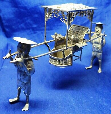 ANTIQUE SOLID SILVER CHINESE EXPORT SEDAN CHAIR WITH FINE FILIGREE WORK c.1895