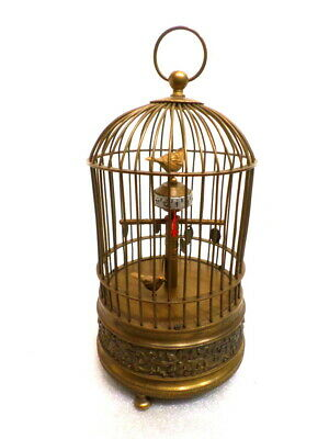 "Unusual Animated Bird Carved Brass Bird Cage Clock----Mechanical Wind, 9 1/2""  !"