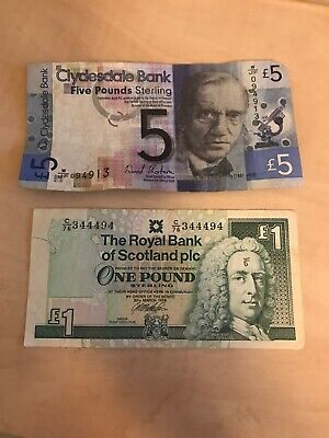 Scottish Banknotes £5 £1 Clydesdale RBS Used