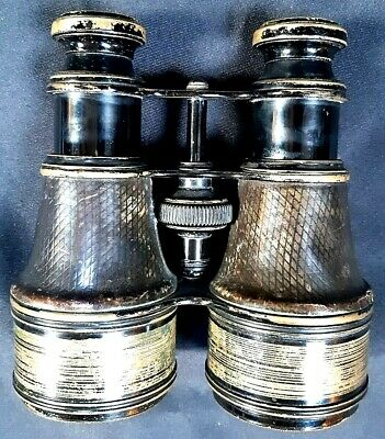 Lovely Antique French Military Issue Leather Covered Brass Binoculars c1900-1910