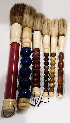 Set of 6 Chinese Calligraphy Goat Hair Brushes with Bone and Various Handles