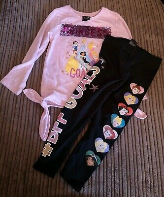 Girls Disney Princess Pink Long Sleeve T Shirt And Black Legging Set 3-4 Years
