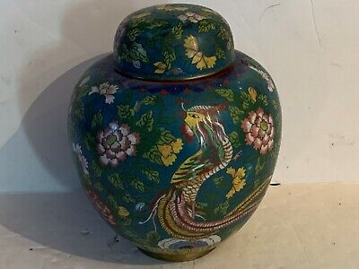 Antique Chinese cloisonne ginger jar w/cover bird flowers motif signed!