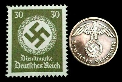 Rare Old WWII German War Coin Two Reichspfennig & Stamps World War 2 Artifacts