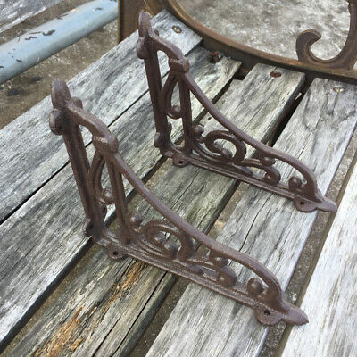 Pair of VINTAGE CLASSIC OLD VICTORIAN SCROLL SHELF BRACKETS Holder CAST IRON