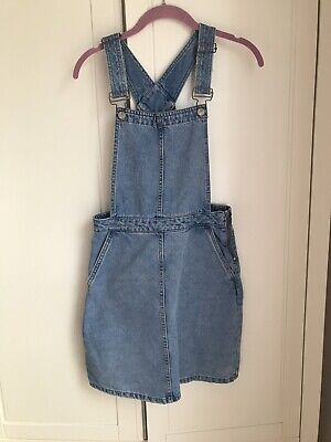 New Look Denim Dungaree Pinafore Dress Size 8 Excellent Condition