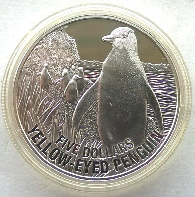 New Zealand 2011 Yellow Eye Penguin 5 Dollars 1oz Silver Coin,Proof
