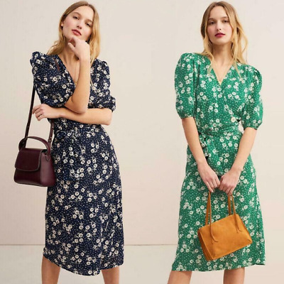 French Rouje Style Dresses Chiffon Lacing Wrap Midi Dress Floral V-neck summer T