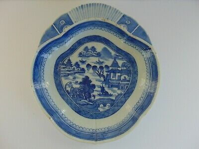 Antique Canton Chinese Export Porcelain Plate - Rare Unusual Form