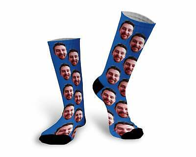 Custom Photo Picture Socks Navy Blue Personalizd w/Any Photo Face or Faces 62283