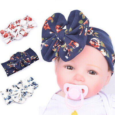 Newborn Infant Girls Baby Floral Bowknot Beanie Hat Cap Hairband Headband Casual