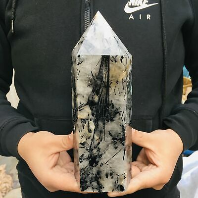 Natural Black Tourmaline obelisk Crystal Quartz wand point Healing Decor 2260G